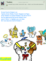 Cyberelf Kushell Q And A - 1 -  -Favorite Pokemon- by Kushell