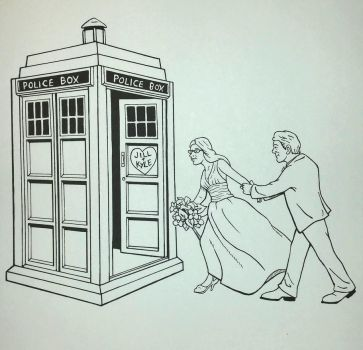 dr. who wedding illustration: inks by superpicciurro84