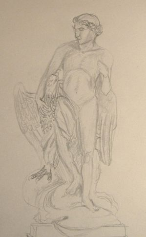 Sketch of Ganymede sculpture