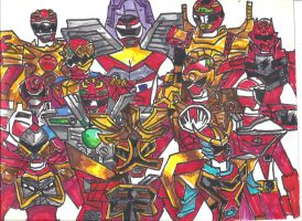 12 Red Rangers with Battlizers by LavenderRanger
