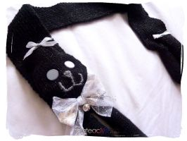 Black Glitter Kitty Cat Scarf by Cateaclysmic