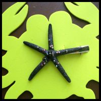 Glittering Jet Black Pencil Sea Star Hairclip by TheRealLittleMermaid