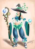 Green Mage Girl by SandroFujin
