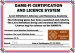 Literacy and Numeracy Game-Fi Certificate by LevelInfinitum