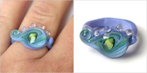 Glass Ring in Blue and Lime by sarahhornik