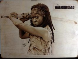 The walking dead michonne wood burning pyrography by Rob31Art