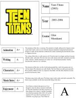 Teen Titans Report Card by happylemur37
