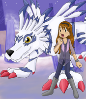Emily and Garurumon by basesbytally