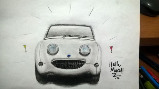 Car drawings - Austin Healey Sprite by Rafagafanhotobra