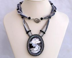 Cameo intarsia necklace on a long chain N1377 by Fleur-de-Irk
