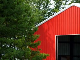 Contrasting Color - Red Barn by omniferous