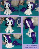 Chibi RARITY with turning head custom sculpture by MadPonyScientist