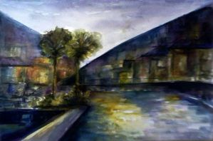 Watercolor - Night at school by Zeon1309