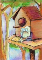 bird reading at - ATh-Armherst by childrensillustrator