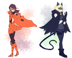 Miraculous Ladybug - Ladybug and Chat Noir by Pidoodle