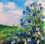 Lanscape, ribbon embroidered picture, cornflowerss by TetianaKorobeinyk