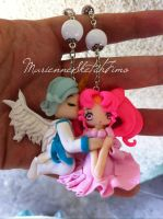Necklace of helios and chibiusa handmadepolymercla by DarkettinaMarienne