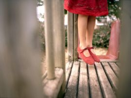 playground and red shoes by oye