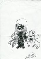 chibi alucard and dog by onimushawn