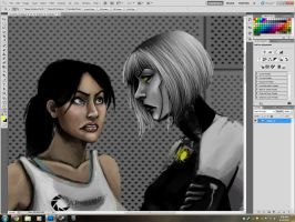 WIP GLaDOS and Chell by DestinyJade
