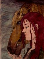 Girl with Horse by Yazuli