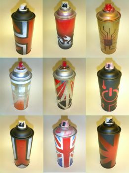 Graffiti Spray Cans by deathbyarchitecture