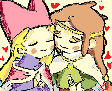 Popolocrois - Narcia and Pietro -work in paint by ziki-zai