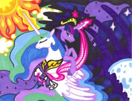 Faithful Friends, Twilight Celestia marker color by FoldawayWings