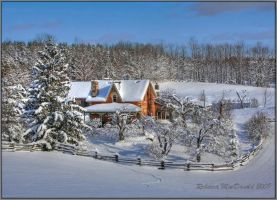 Snowy Farmhouse by Rebacan