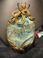 free form turquoise bronze pendant by BacktoEarthCreations