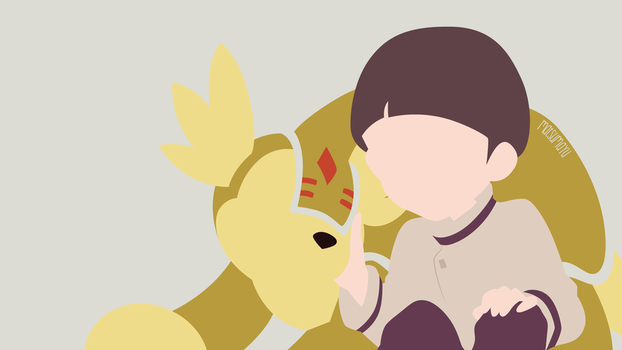 Iori and Armadillomon from Digimon 02 | Minimalist by matsumayu