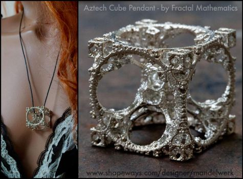 Aztech Cube Pendant 3D printed in Sterling Silver by MANDELWERK