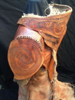 Distressed leather and hessian shamans coat by simo024