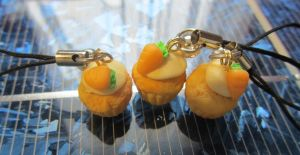 Carrot Cupcake Celllphone Charms by Aya-no-Shrink-Ray