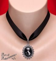 Nocturne Cat Cameo Satin Pendant Choker by ArtOfAdornment