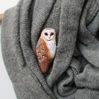 Woolen Barn Owl Brooch by MarrieKo