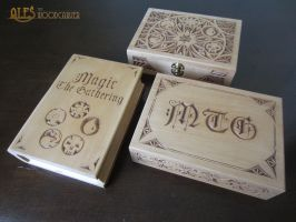MTG card boxes for Commander decks by alesthewoodcarver
