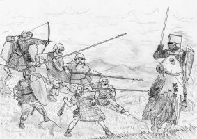 Gaelic Rebels vs Lowlander King of Scots, 1235 AD by FritzVicari