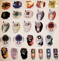 Digimon Digivice Stickers -Seasons 1-5- by FlamingCabbitProd