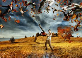 leaf blower terror by lupographics