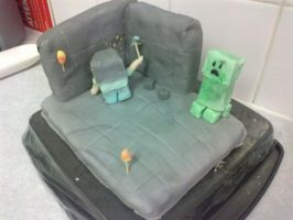 Minecraft cake by cactus-coffee