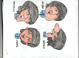 The Beatles cartoon facesa by Beatlesluver56