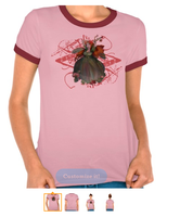 Valentines Day Fairy Ladies Melange Ringer T-shirt by tessieart333