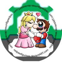Mario and Peach Chibi Badge by RedPawDesigns