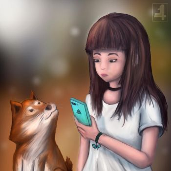 a girl and shiba inu by n34ty