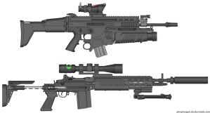 SCAR-L and Mk-14 Mod 0 by firetruckboy