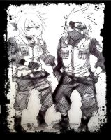 kakashi and anko fight scene sketch3 by KickBass77