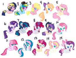 Mane 6 shipping foals batch #2 [CLOSED] by Icicle212