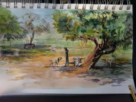 plein air dog park 2 by FablePaint