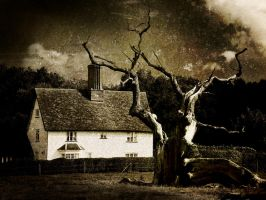 house with dead tree by DogAngel